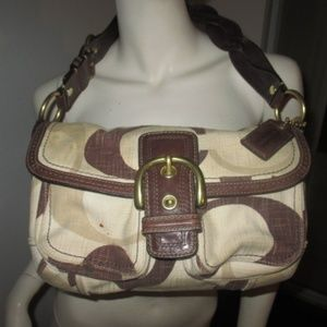 COACH 12194 LEATHER TRIM SATCHEL PURSE
